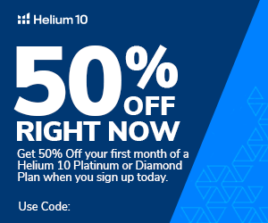Helium 10 50% OFF first month of Platinum or Diamond Plan